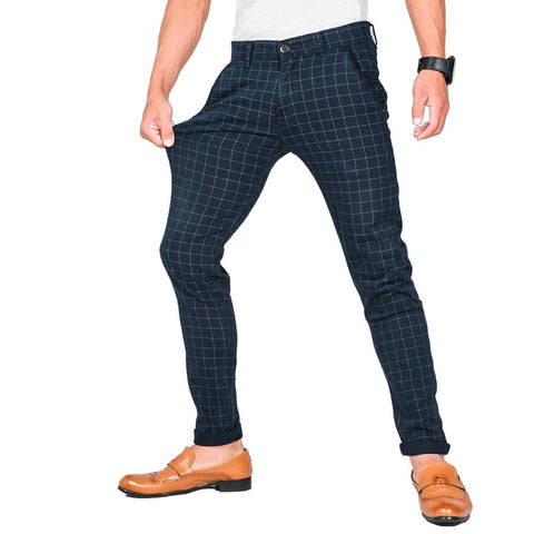 Virjeans Stretchable Cotton Check Blue Chinos Pant For Men (Vjc 714) 1