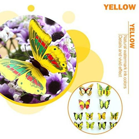 12Pcs 3D Butterfly Wall Stickers Crafts Butterflies With Sponge Gum And Pins