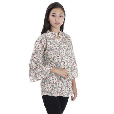 Blue Floral Printed Mandarin Tunic For Women