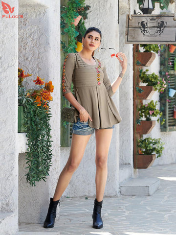 Fuloo Glazier Rayon tops with Embroidery for Women # 1029 price in nepal