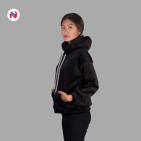 Nyptra Black Solid Plain Velvet Pullover Hoodie For Women