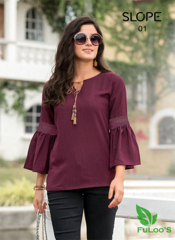 Slop Solid Western tops in Blended Fabrics (Maroon ) price in nepal