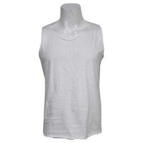 White Solid Tank Top For Men