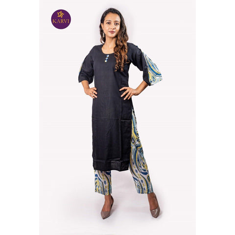 KARVI Black Kurti with Designer Sleeves & Abstract Print Pants for Women price in Nepal