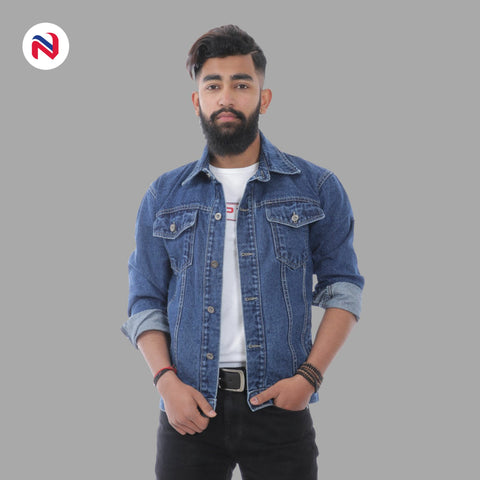 Nyptra Dark Blue Solid Denim Jeans Jacket For Men price in nepal