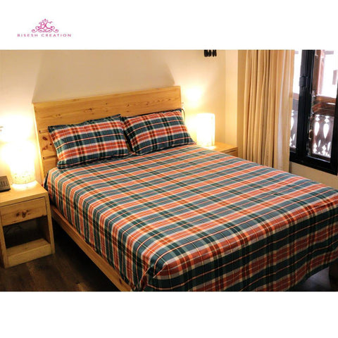 Bisesh Creation BD 05 Biege White Checkered King Size Cotton Bed Sheet With 2 Pillow Cover price in nepal