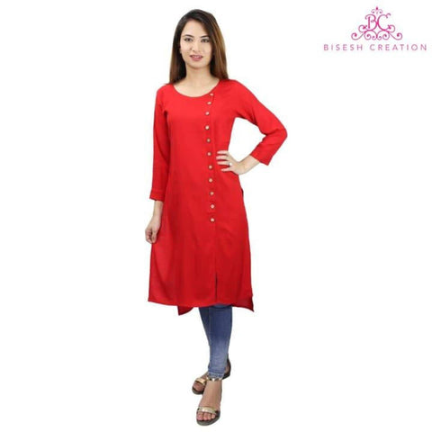 Bisesh Creation Red Slub Rayon Front Side Buttoned High Low Kurti For Women