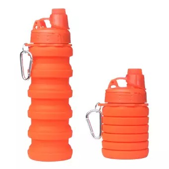 Silicone Expandable And Foldable Water Bottle 500Ml (Orange)