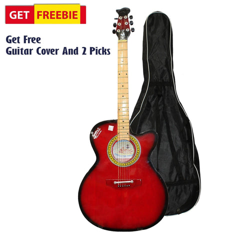 Red/Black Full Size Indian Guitar With Free Cover And 2 Picks