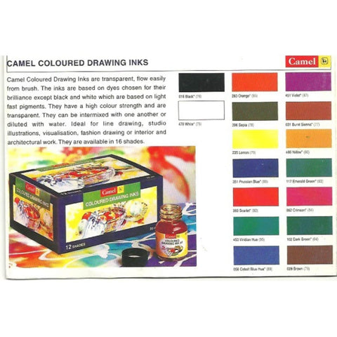 Camel Coloured Drawing Ink Set, 12 Shades, 20ML Each