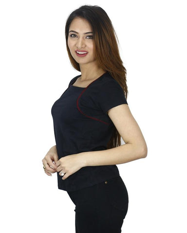 Black Maroon Lined Cotton T-Shirt For Women