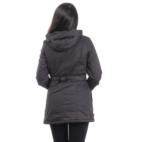 Attire Nepal Black Solid With Belt Jacket For Women