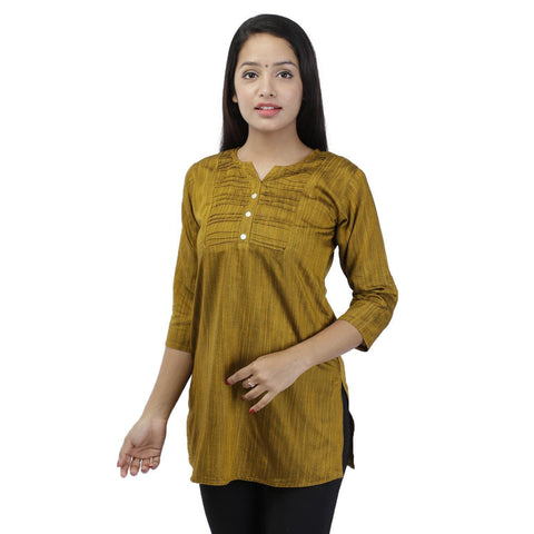 Golden Yellow Lining Textured Rayon Slub Top For Women