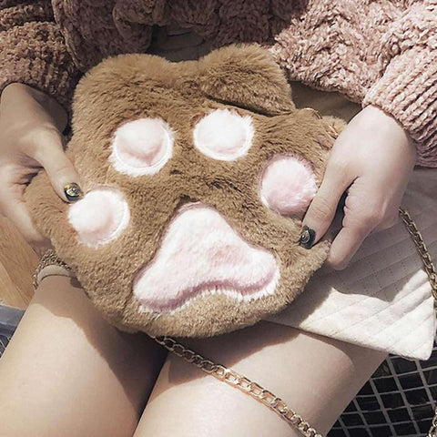Trendy Cute Cat Bear Paw Plush Claw Lovely Messenger Soft Shoulder Bag price in Nepal