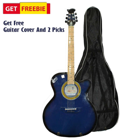Glossy Blue Full Size Indian Guitar With Free Cover And 2 Picks
