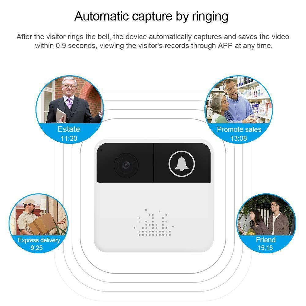 Wireless Wifi Video Doorbell 720P Hd Door Bells In-Home Security Camera Battery Powered 2-Way Audio App Control Ios Android