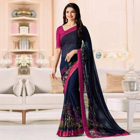 Pink & Navy Blue Designer Printed Fancy Georgette Saree For Women