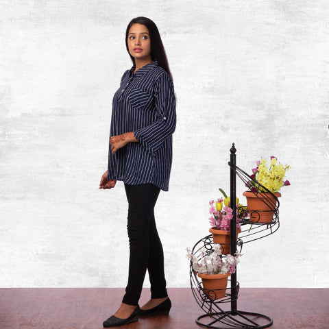 Navy Stripe Printed Mandarin Tunic For Women