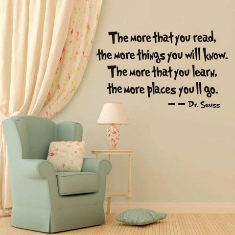 The More That You Read The More Things That You Will Know Dr Seuss Wall Sticker price in Nepal