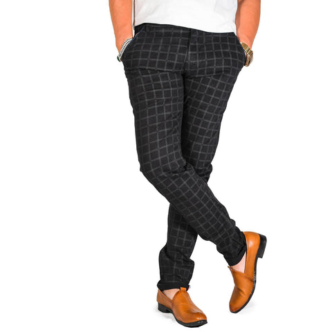 Virjeans Stretchable Cotton Check Black Chinos Pant For Men (Vjc 715) 3