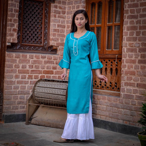 Bisesh Creation Sky Blue Motiwork Design Kurti For Women