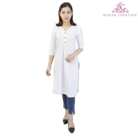 White Cotton Ethnic Kurti For Women