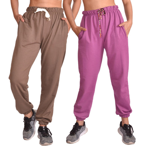 Combo Of Two Pcs Brown And Purple Solid Joggers For Women price in nepal