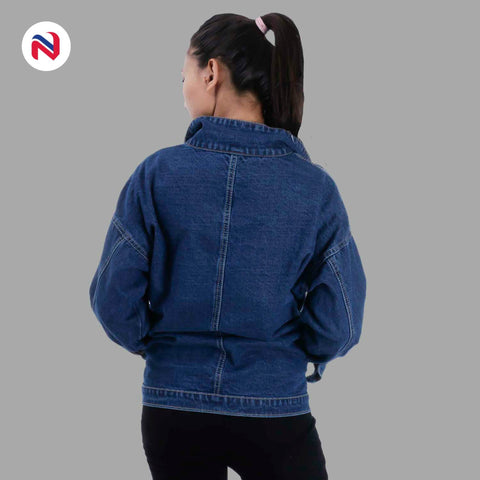 Nyptra Dark Blue Over Size Solid Denim Jacket For Women