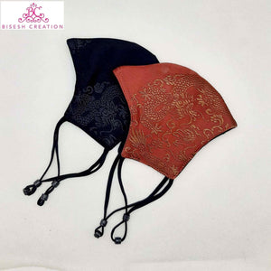 Silk Printed Mask With Stopper/Nose Pin - Set Of 2