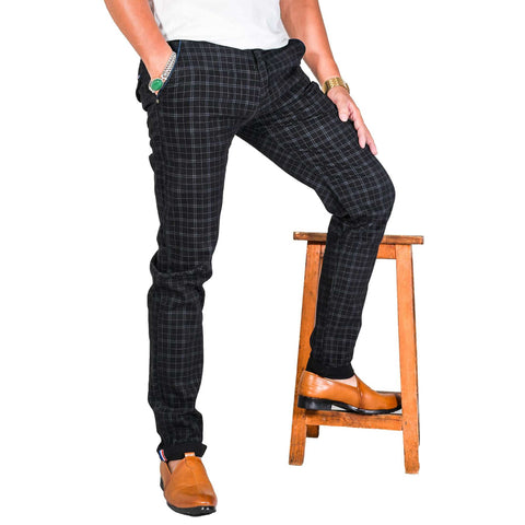 Virjeans Stretchable Cotton Check Black Chinos Pant For Men (Vjc 715) 2