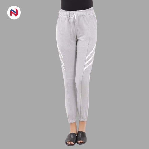Nyptra Grey Plain/Side Stripes Joggers For Women price in nepal