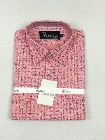 Pink Pattern Cotton Shirt For Men
