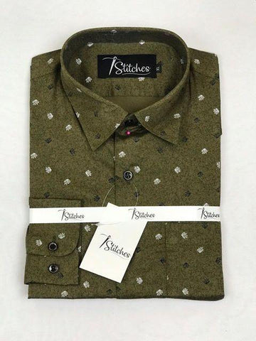 Green Pattern Cotton Shirt For Men