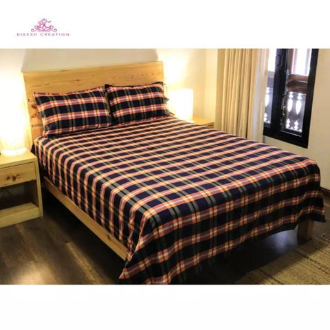 Bisesh Creation BD 08 Biege Blue Checkered King Size Cotton Bed Sheet With 2 Pillow Cover