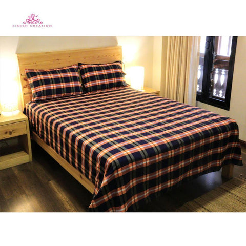 Bisesh Creation BD 08 Biege Blue Checkered King Size Cotton Bed Sheet With 2 Pillow Cover Price in nepal