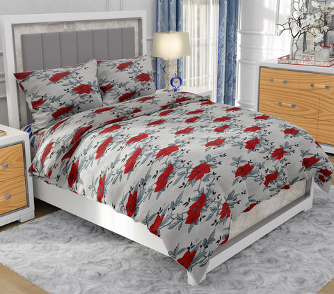 Red Rose Printed King Size White Bed Sheet With 2 Pillow Covers