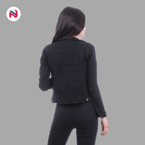 Nyptra Black Crop Denim Jacket For Women