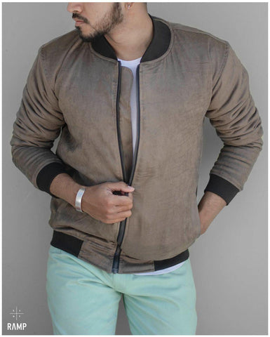 Ramp Suede Bomber Jacket For Men