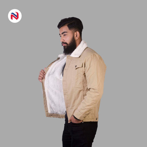 Nyptra Peanut Solid Fur Denim Jacket For Men