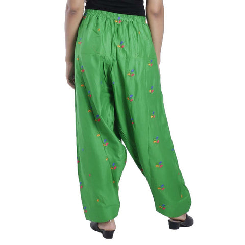 Green Chikan Panjabi Shalwar For Women