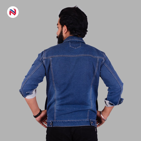 Nyptra Dark Blue Solid Stretchable Denim Jacket For Men