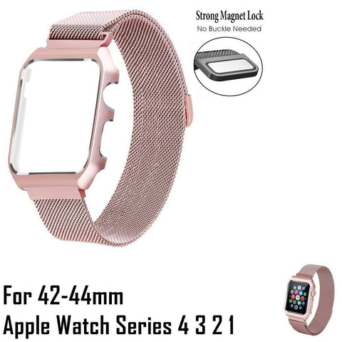 14001200 42-40 mm Apple Watch 4 3 2 1 Strap With Metal Cover Adjustable Magnetic Closure Clasp Rose Pink