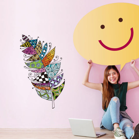 Creative Colorful Feather Tv Sofa Wall Decoration Stickers price in Nepal