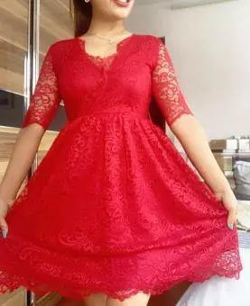 Zalora Red Laced Flare Dress