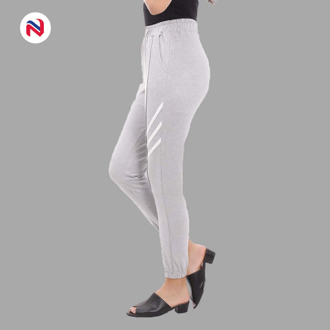 Nyptra Grey Plain/Side Stripes Joggers For Women