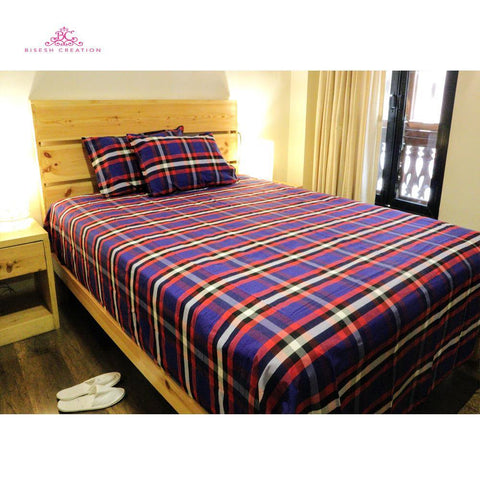Bisesh Creation BD 07 Blue White Checkered King Size Cotton Bed Sheet With 2 Pillow Cover Price in nepal