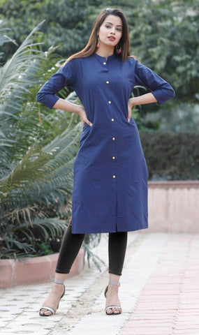 Blue Cotton Front Slit Solid Kurti price in nepal