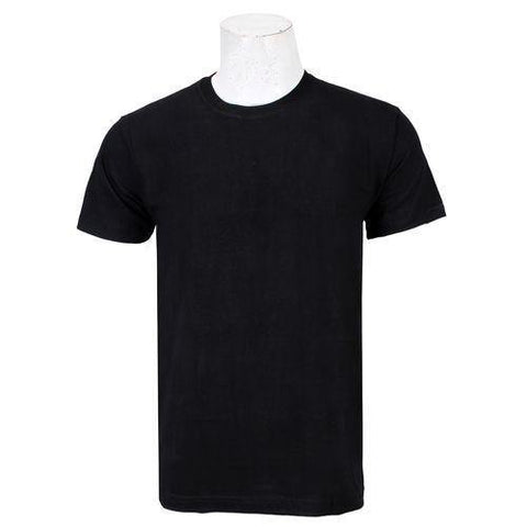 Black Solid Round Neck T-Shirt For Men