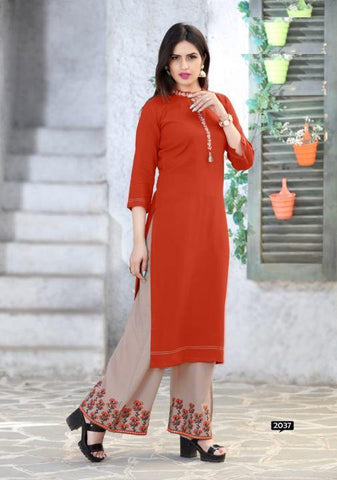 Orange Designer Embroidered Kurti With Plazzo Sets For Women