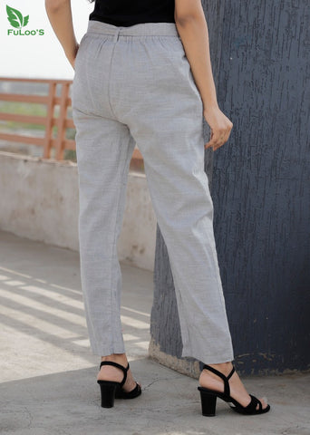 Linen Slub Silk Women Pant #Grey